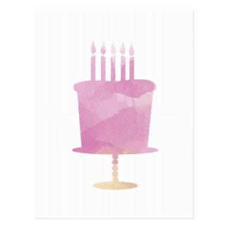 Watercolor Birthday Card - Pink Birthday Cake Postcard