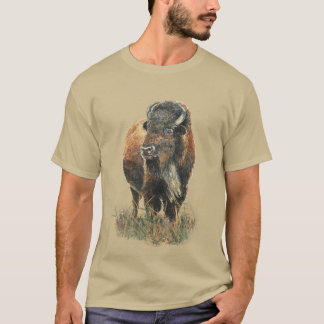 Watercolor Bison Buffalo Animal Nature Art T-Shirt