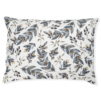 Watercolor Black and Tan Leaves and Berries   Pet Bed