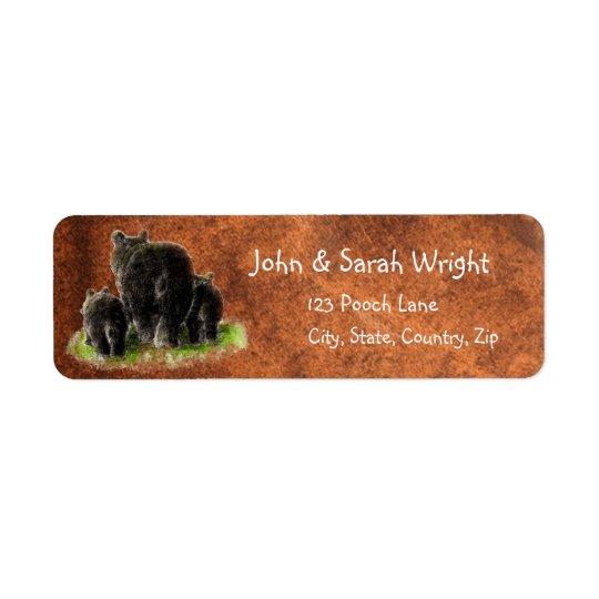 Watercolor Black Bear Family Animal Address Return Address Label