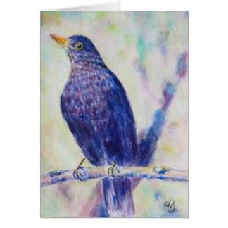 Watercolor Black Bird Greeting Card