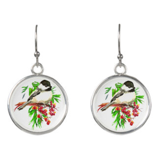 Watercolor Black Capped Chickadee Bird Christmas Earrings
