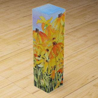 Watercolor Black-Eyed Susan Wine Gift Box