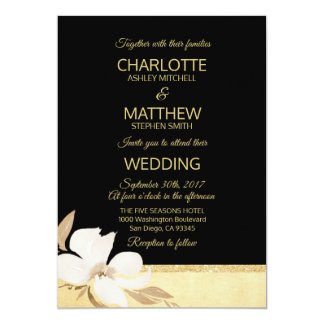 Watercolor Black Gold Wedding Invitation