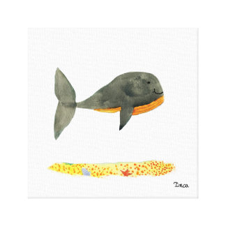 Watercolor Black Whale Canvas Wall Art