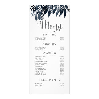 Watercolor Black White Stylist Menu Price List Custom Rack Cards