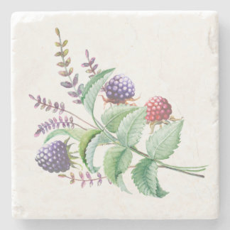 Watercolor Blackberries Raspberries Bouquet Stone Coaster
