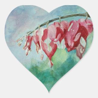 Watercolor Bleeding Hearts Heart Sticker