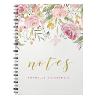 Watercolor Blooms | Pink and Gold Floral | Notes Notebook
