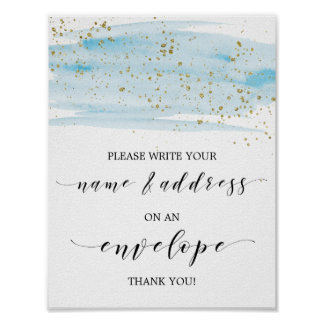 Watercolor Blue and Gold Address An Envelope Sign
