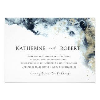 Watercolor Blue and Gold Minimalistic Wedding Invitation