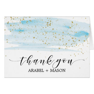 Watercolor Blue and Gold Sparkle Thank You Card