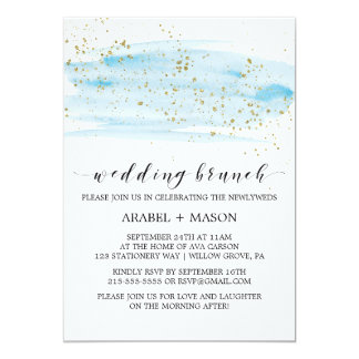 Watercolor Blue and Gold Sparkle Wedding Brunch Card