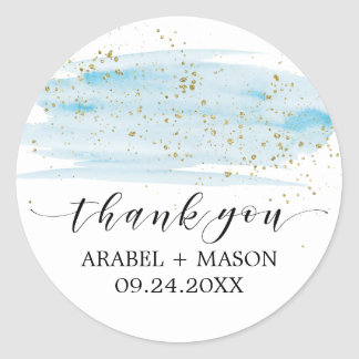 Watercolor Blue and Gold Sparkle Wedding Favor Classic Round Sticker