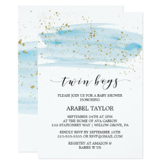 Watercolor Blue and Gold Twin Boys Baby Shower Card