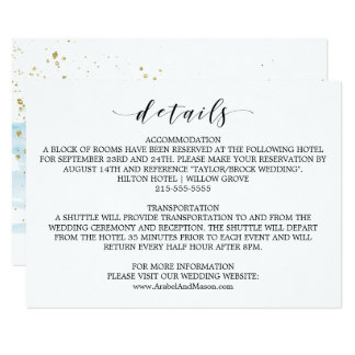 Watercolor Blue and Gold Wedding Details Card