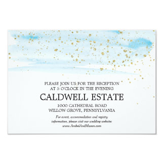 Watercolor Blue and Gold Wedding Reception Insert Card
