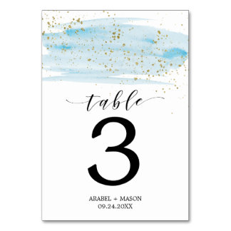 Watercolor Blue and Gold Wedding Table Number