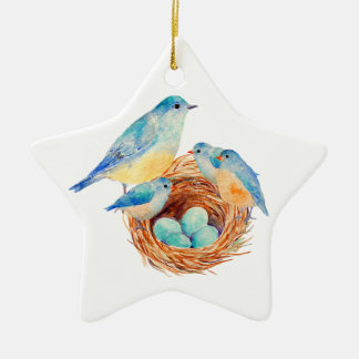 Watercolor Blue Bird Family Bird Nest Chicks Ceramic Star Decoration