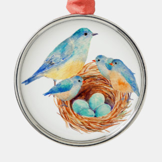 Watercolor Blue Bird Family Bird Nest Chicks Christmas Ornament