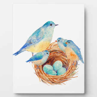 Watercolor Blue Bird Family Bird Nest Chicks Plaque