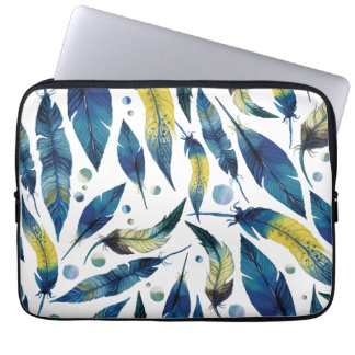 Watercolor blue bird feathers pattern computer sleeves