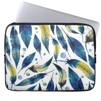 Watercolor feathers laptop sleeve