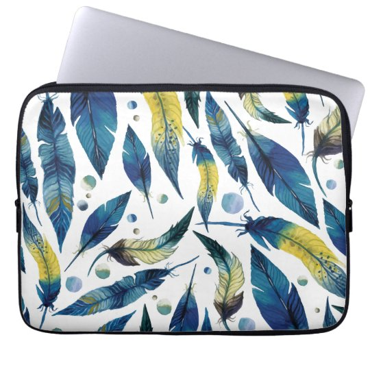 Watercolor blue bird feathers pattern laptop sleeve