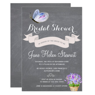 Watercolor blue butterfly floral bridal shower card