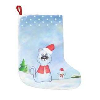 watercolor Blue cat Santa Claus, Christmas winter