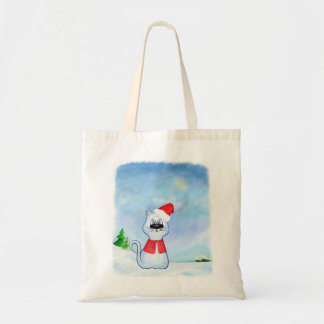 watercolor Blue cat Santa Claus, Christmas winter Tote Bag