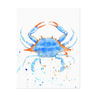 Watercolor Blue Crab Canvas Print