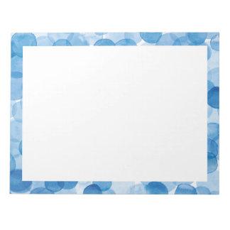 watercolor blue dot 8.5 x 11 notepad