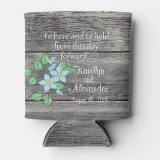 Watercolor Blue Floral Have and Hold Country Theme Can Cooler