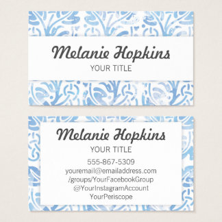 Watercolor Blue Floral Tile Pattern Business Card