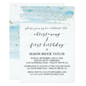 Watercolor Blue & Gold Christening & 1st Birthday Invitation