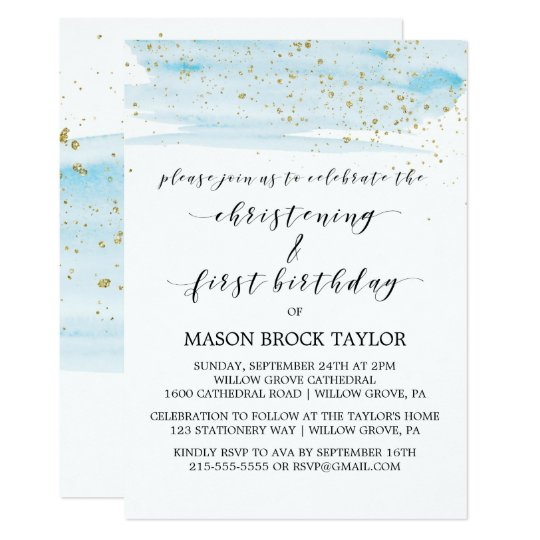 First Birthday And Baptism Invitations 1st Birthday And: Watercolor Blue & Gold Christening & 1st Birthday