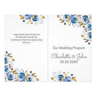 Watercolor Blue Gold Floral Wedding programs Flyer