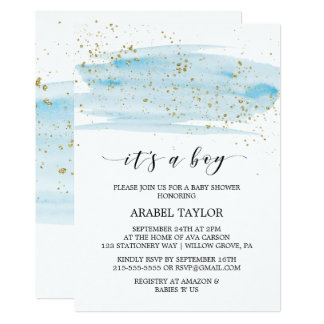 Watercolor Blue & Gold It's A Boy Baby Shower Card
