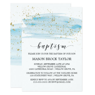 Watercolor Blue & Gold Sparkle Baptism Card