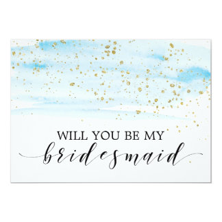 Watercolor Blue & Gold Will You Be My Bridesmaid Card