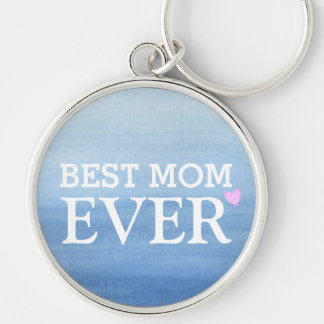 Watercolor Blue Gradient Pink Heart Best Mom Ever Silver-Colored Round Key Ring