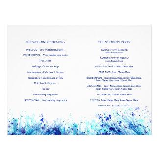 Watercolor blue grass art wreath wedding programme