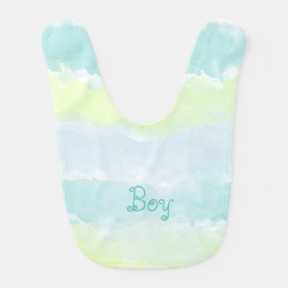 Watercolor Blue Green Azur Boy Bib