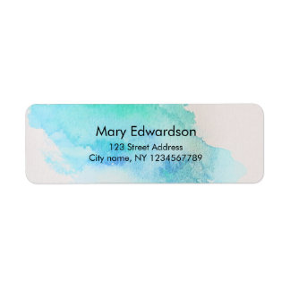Watercolor blue green teal splatter return address
