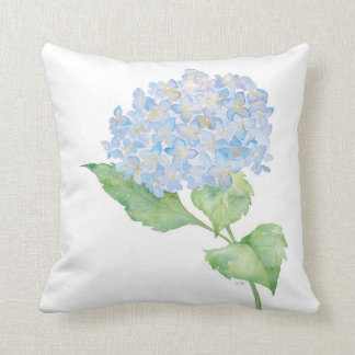 Watercolor Blue Hydrangea Throw Pillow