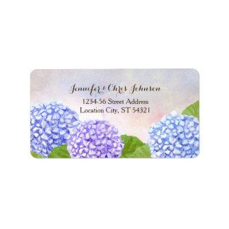 Watercolor Blue Hydrangea Wedding Address Label