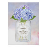 Watercolor Blue Hydrangeas and Mason Jar Wedding Poster