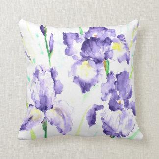 Watercolor blue iris Cushion