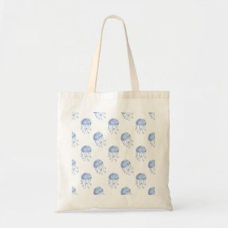 watercolor blue jellyfish beach design tote bag